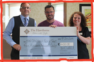 The Hawthorns Eastbourne give £400 donation to the Children's Respite Trust