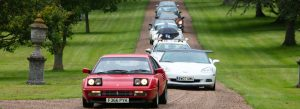 Cars arrive at the Racetrack Run Launch - a Charity Rally for the Children's Respite Trust in Sussex and Kent